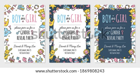 Gender reveal party invitation template. Baby shower, boy or girl. Vector postcard with Doodle icons. Photo stock ©
