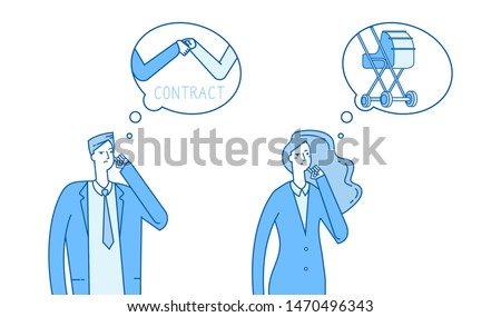 Gender stereotypes thinking. Man thinks about work, woman thinks about family vector illustration. People couple think about some things