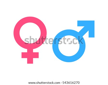 Gender symbol pink and blue icon