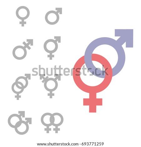 Gender symbol set. Male Female girl boy woman man transgender icon. Mars venus vector symbol.