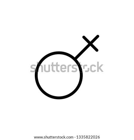 Gender symbol. Venus symbol. The symbol for a female organism or woman. Vector Format.