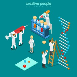 Gene engineering chemical pharmaceutics flat 3d isometry isometric concept web vector illustration. Genetic lab micro people syringe DNA chain test tube pipette doctor. Creative people collection.