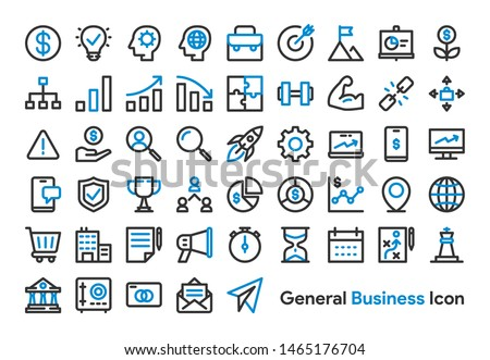 General Business and Finance Icon Set with Black and Blue color. Modern Thick Line Style. Suitable for Web and Mobile Icon. Vector illustration EPS 10.