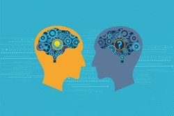 General Business and Management concept. Two heads talking to each others. One has question mark inside the brain while another has light bulb inside the brain.