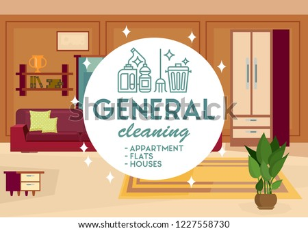 General Cleaning Apartment Concept. Dry Cleaning. Cleaning Business. Room Interior Background. Advertising Banner Cleaning Service. Disinfection at Home. Detergent Foam. Vector Flat Illustration.