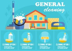 General Cleaning Concept. Dry Cleaning. Cleaning Business. Bucket, Brush, Mop and Detergent. Advertising Banner Cleaning Service. Disinfection at Home. Detergent Foam. Vector Flat Illustration.