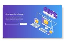 General Data Protection Regulation - GDPR isometric concept. Vector illustration.