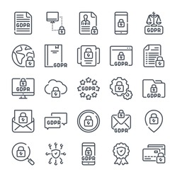 General Data Protection Regulation related line icon set. GDPR linear icons. Privacy policy outline vector signs and symbols collection.
