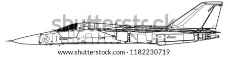 General Dynamics F-111 AARDVARK. Outline vector drawing
