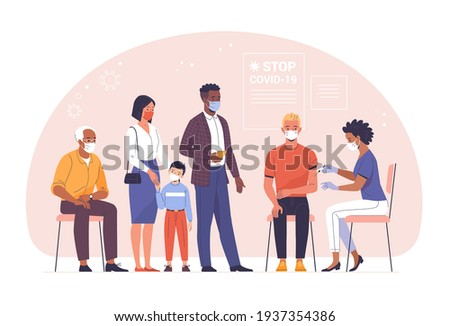 General vaccination against coronavirus. Vector illustration of a young man being vaccinated by a black doctor and people of different ages and nationalities waiting in line. Isolated on background