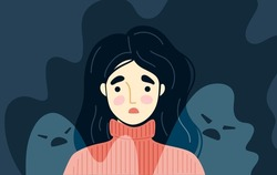 Generalized anxiety disorder concept. Frightened, scared young woman surrounded by imaginary ghosts flying around her. Panic attack, fears, paranoia, sleeping disorder. Vector hand-drawn illustration.