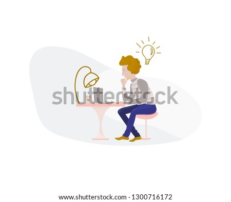 Generate Ideas and Leads vector illustration business innovation or startup concept. Creative Idea bulb or lamp and scientist or visionary startuper generating solutions and new visions.