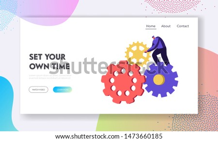 Generating Ideas Website Landing Page. Tiny Man Character Turning Huge Gears and Cogwheels Mechanism of Clocks or Watch. Timing, Working Process Web Page. Cartoon Flat Vector Illustration, Banner