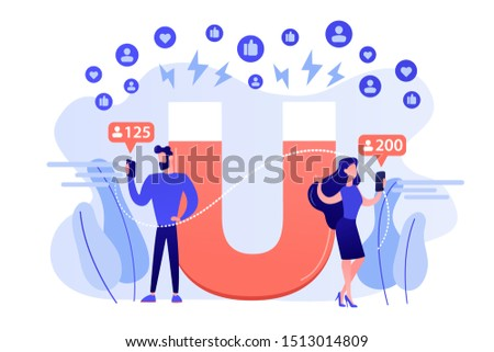 Generating new leads advertising strategy. Aiming at target audience. Attracting followers, follow us on social media, subscriber counting concept. Pink coral blue vector isolated illustration