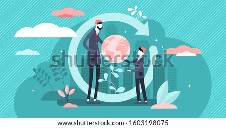 Generation change vector illustration. Power evolution in tiny persons concept. Give world heritage and legacy to youth. New responsibility about planet. Abstract symbolic global society shift process Stockfoto ©