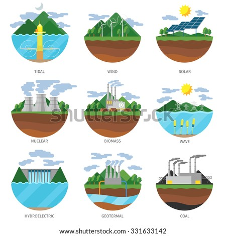 Generation energy types. Power plant icons vector set. Renewable alternative, solar and tidal, wind and geothermal, biomass and wave illustration