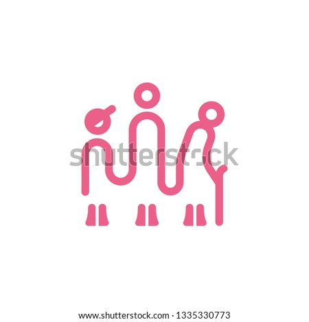 Generation linear icon. Linear icon with a child, adult and old man.