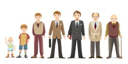 Generation of men from infants to seniors. Child and teenager, boy and an elderly man. Vector illustration