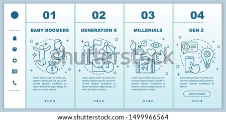 Generation onboarding mobile web pages vector template. Millennials. Responsive smartphone website interface idea with linear illustrations. Webpage walkthrough step screens. Color concept Foto stock ©