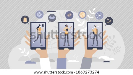 Generation or gen Z as zoomer social group with online lifestyle tiny person concept. Youth community technology involvement in daily life with texting, social media and e-commerce vector illustration Сток-фото ©