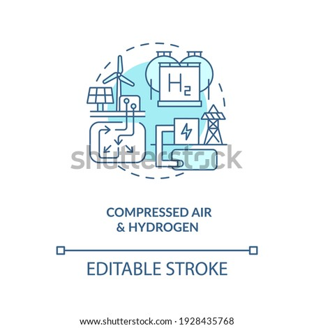 Generation storage technology concept icon. Improve efficiencies of gas turbines idea thin line illustration. Energy storage system. Vector isolated outline RGB color drawing. Editable stroke