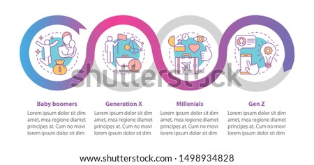 Generation vector infographic template. Millennials. Business presentation design elements. Data visualization with four steps and options. Process timeline chart. Workflow layout with linear icons
