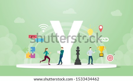 generation y concept people with team and people icons related with creativity and agility with modern flat style - vector Stok fotoğraf ©