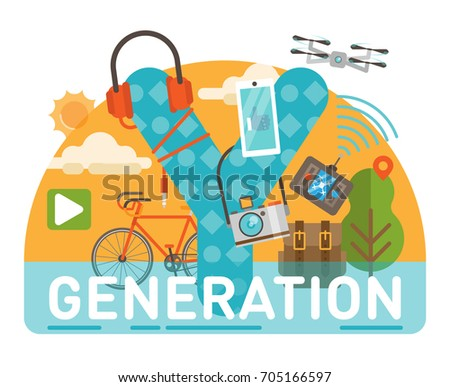 Generation Y scene with large title and various illustrated objects creating one complete composition.