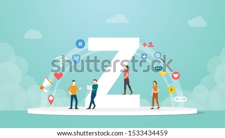 generation z concept people with team and people icons related with modern flat style - vector Zdjęcia stock ©