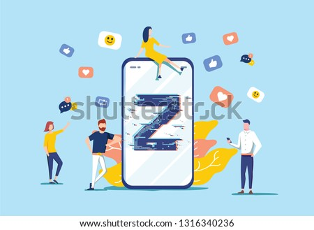 Generation Z vector illustration. Flat virtual tiny persons messaging concept. New and modern demography trend with progressive youth gen. Technology influence on teenagers. Online friends lifestyle.
