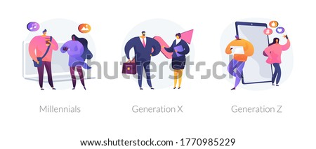 Generational change abstract concept vector illustration set. Millennials, Generation X and Z, digital native, middle age, parents, hyper-connected world, childhood with tablet abstract metaphor.