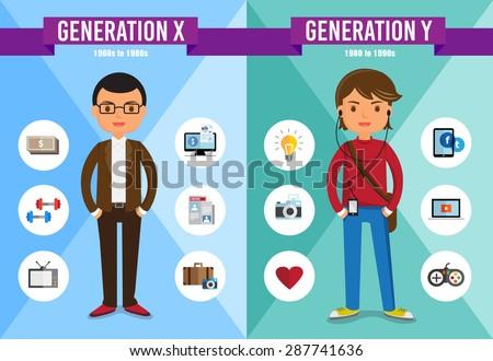 Generations Comparison info graphic, Generation X, Generation Y, cartoon character Foto stock ©