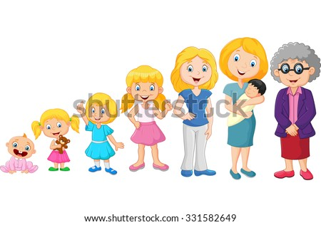 Generations woman. Stages of development woman - infancy, childhood, youth, maturity, old age. ストックフォト ©