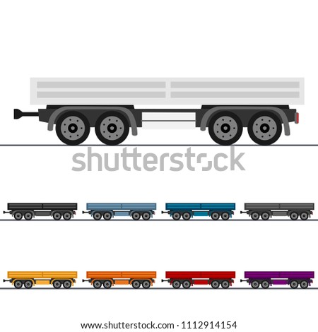 Generic Flat Bed Trailer Colorful Vector Set