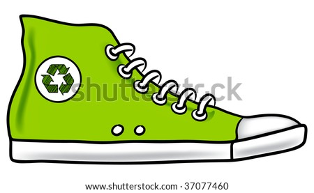 Generic green illustration of running shoe with recycle symbol encouraging you to choose walking instead of driving to reduce your carbon footprint