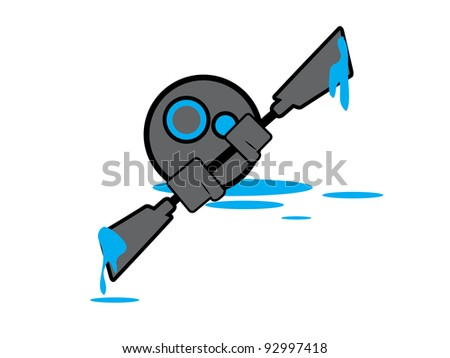 Generic Kayaking Character. Gray and Blue Kayaking Character ready for brochures or sell sheets.