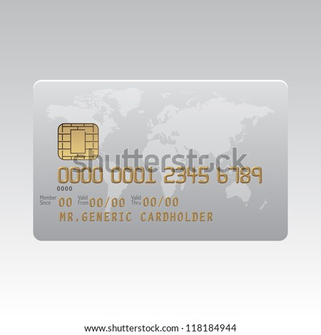 Generic plastic credit card with chip and global map background illustration
