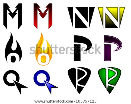 Generic set of letters m through r in superhero or sports team graphic treatment