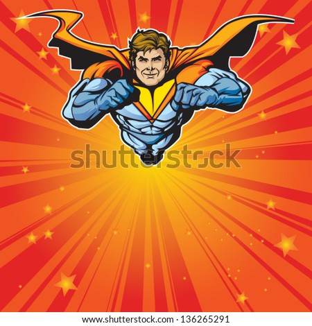 generic superhero figure flying