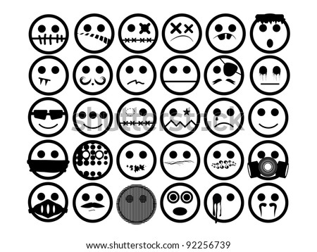 Generic Urban Faces. 30 generic urban faces in black and white. Can be used for emoticon or avatar.