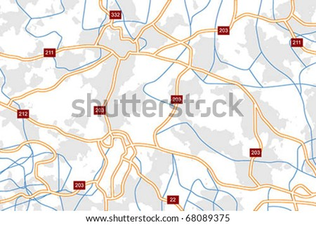 Generic vector road map with highways an local roads