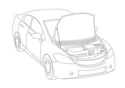 Generic vehicle line drawing illustration