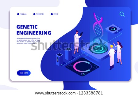 Genetic concept. DNA nanotechnology biochemistry and human genome DNA engineering. Molecular biology 3d vector landing page