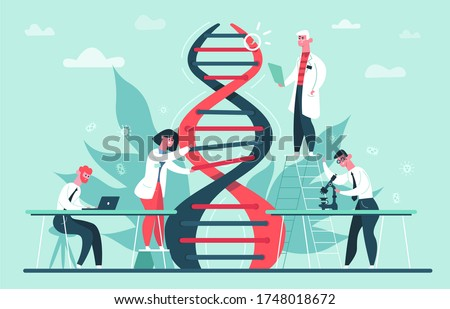 Genetic DNA research. Lab genome and DNA code science researches, scientist professor CRISPR CAS9 gene edits vector illustration. Research dna, biotechnology laboratory, gene medical Photo stock ©