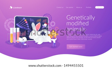 Genetic engineering. Biological research. Genetically modified animals, Genetically modified animal experiments, animals with genes knocked out concept. Website homepage header landing web page