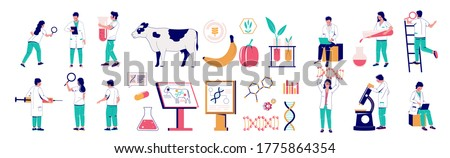 Genetic engineering character set, vector flat isolated illustration. Biotechnology lab technicians, scientists with equipment, genetically modified animals and food. Genetic modification technology. Stock photo ©