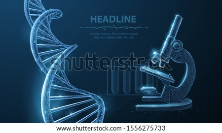 Genetic engineering concept. Vector 3d dna molecule helix spiral model and microscope. Dna lab test, microbiology science, biotechnology, innovation technology, gene life research, medical experiment