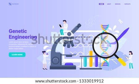 Genetic engineering, gene manipulation, bio technology and chemistry concept. Innovative dna research tools. Flat vector illustration for web design, banner, hero image. Landing page design concept.
