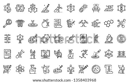 Genetic engineering icons set. Outline set of genetic engineering vector icons for web design isolated on white background