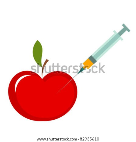 Genetic modification of apple. Vector illustration